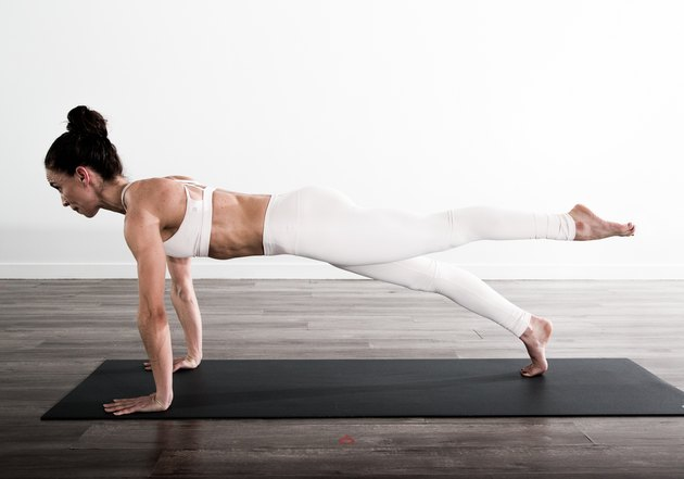 Full body exercise that strengthens entire shoulder girdle, arms, abdominals, glutes and hamstrings