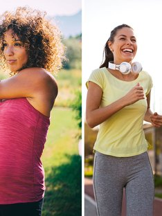 Pregnant woman in pink workout clothes and couple running in bright activewear
