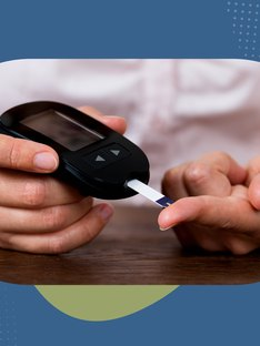 A person with type 2 diabetes testing her blood sugar with a glucometer