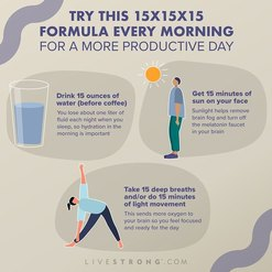 graphic detailing the 15x15x15 formula for a more productive morning