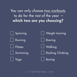graphic listing many types of exercise with text instructing reader to choose only two favorites