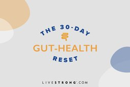 illustration showing 30-day gut-health reset logo on gray background