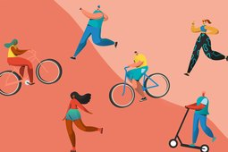 Drawings of people doing weight-loss exercises like running, walking and cycling