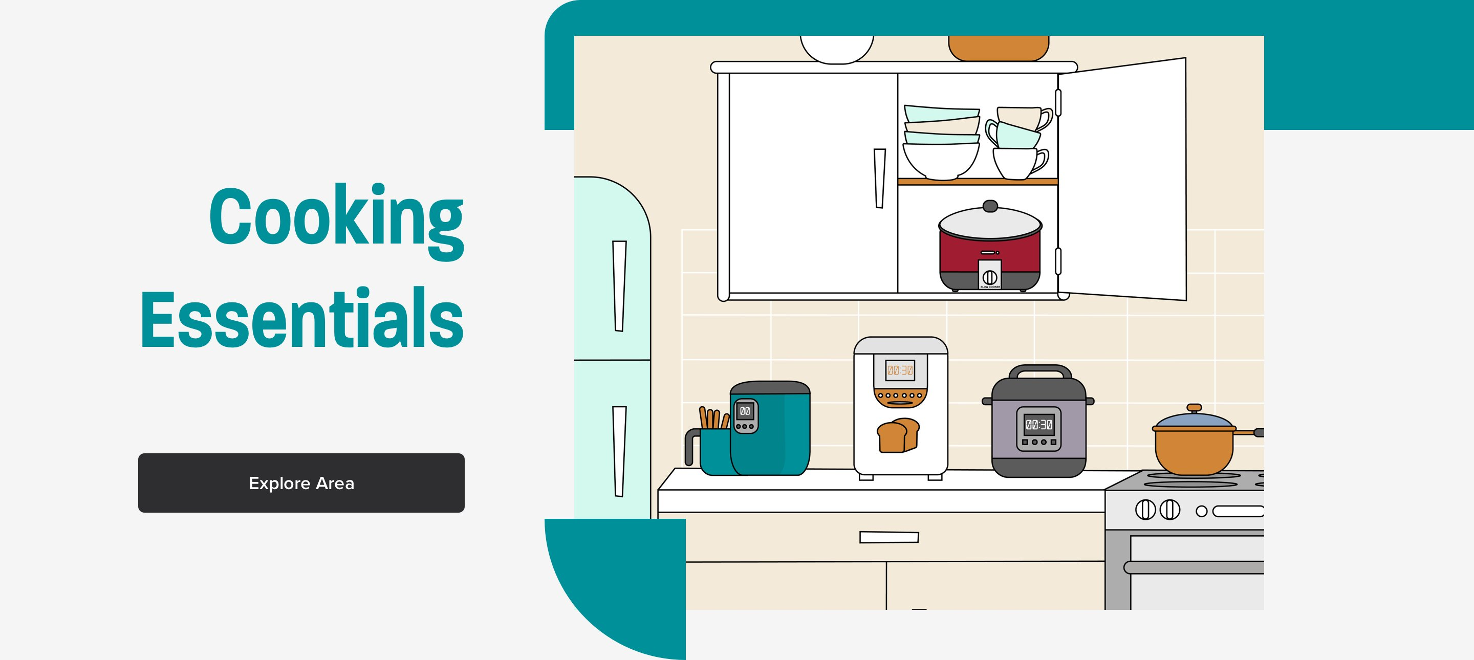 Cooking essentials section with cooking appliances