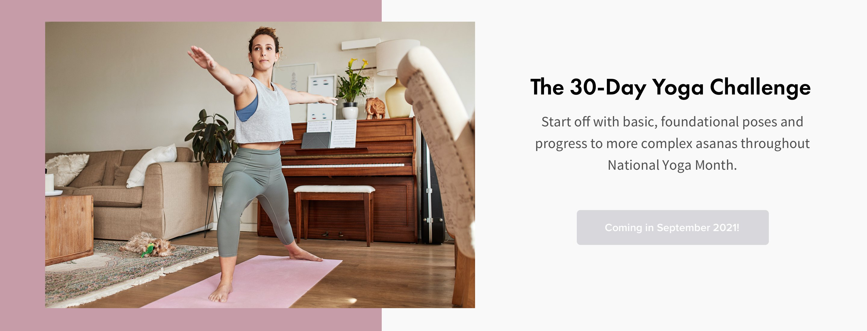 woman doing yoga in living room on pink yoga mat on wood floor