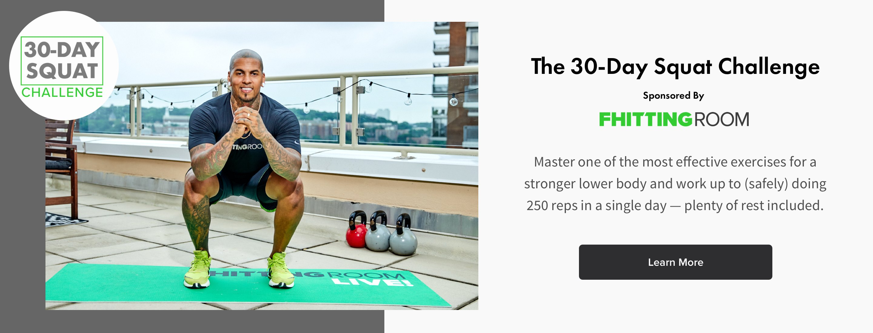 man doing a squat for the 30-day squat challenge