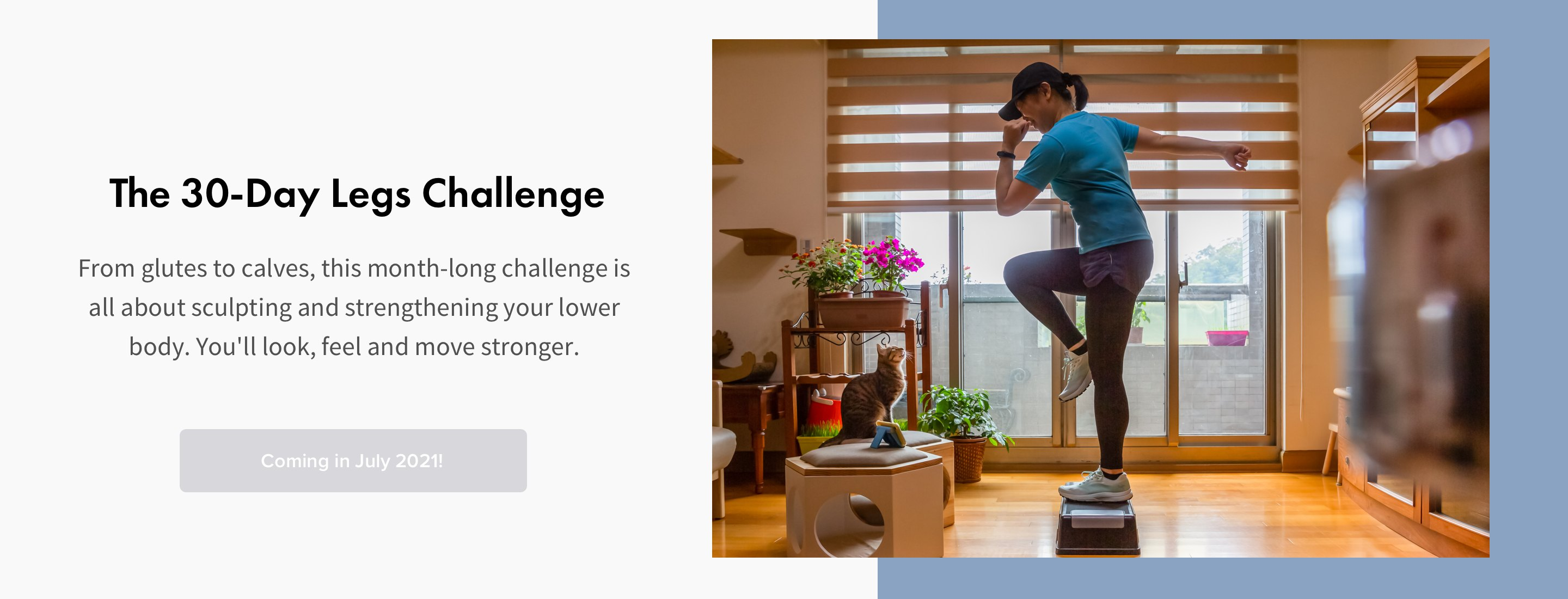 woman in blue shirt and black hat doing step up exercise at home for stronger legs challenge