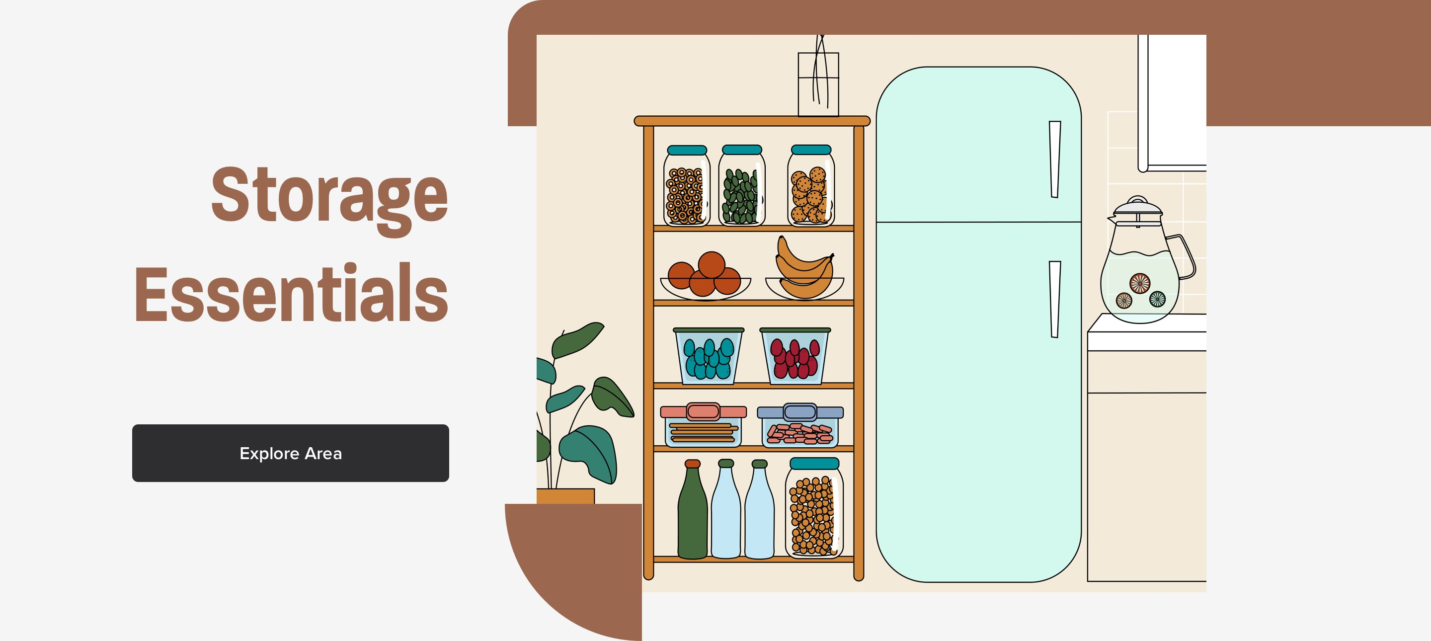 Storage Essentials section with storage containers
