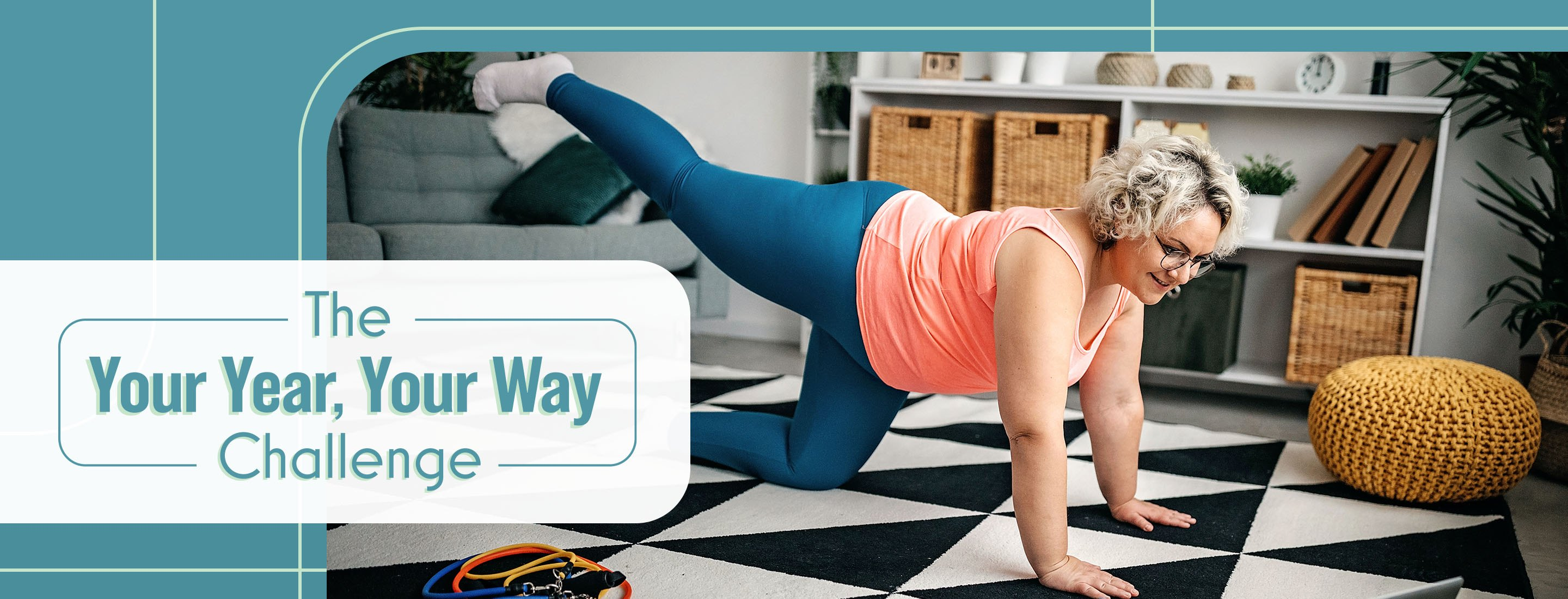 woman doing home workout on tiled floor with laptop and resistance bands for your year your way challenge