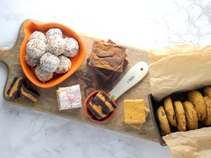 Low-sugar pumpkin desserts on a tray