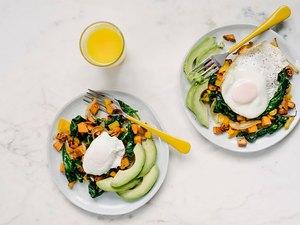 avocado, eggs and sweet potato breakfast