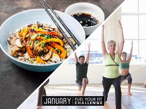 split image of balanced meal and women and men doing a yoga recovery workout