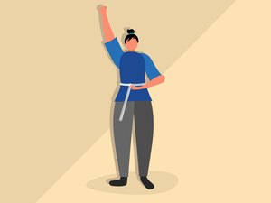 Illustration of a woman who went through a weight-loss transformation holding a measuring tape around her waist and celebrating