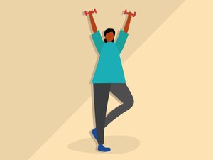 Illustration of a person celebrating long-term weight-loss success