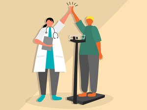 Illustration of weight-loss surgery success with a person and doctor high-fiving