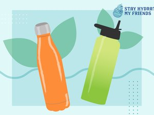 Custom graphic showing sustainable reusable water bottles
