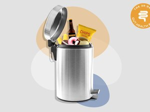 mixed media image of soda and processed foods in silver trash can