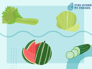 custom graphic showing hydrating fruits and vegetables