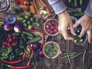 Preserving Organic Vegetables in Jars