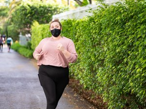 Woman Running with Protective Face Mask Miami Florida