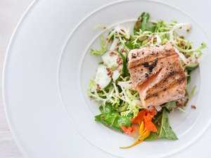 Salmon fillet with vegetables high protein diet