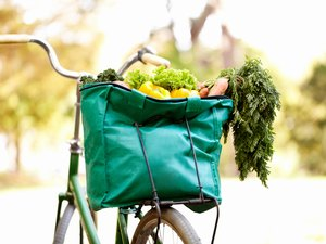 green bike bag filled with healthy groceries
