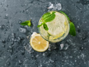 Lemon mint water with ice