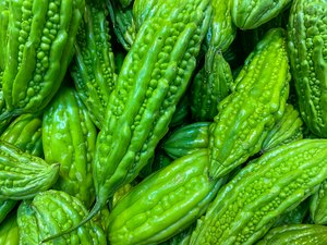 Full frame photo of fresh bitter cucumbers for backgrounds concept