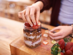 Breakfast meal prep with yogurt granola and fruit