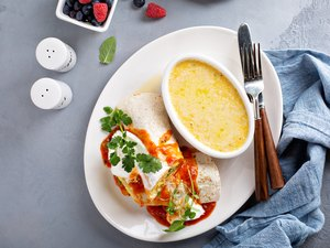 Breakfast egg burrito with gluten-free grits