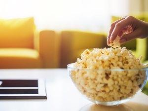 Hand picking popcorn