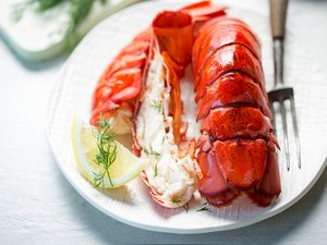 Cooked lobster tails with lemon & dill