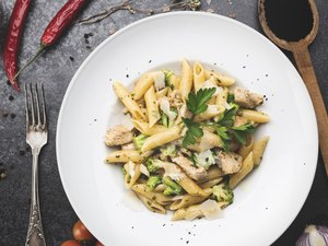 Healthy vegetarian pasta with broccoli and parsley