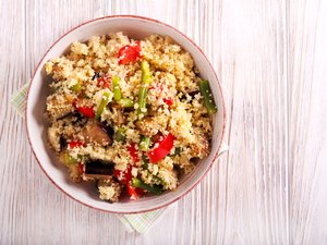 Couscous with vegetables in a bowl