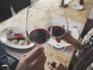 Couple toasting with red wine in cafe