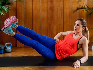 Woman doing HIIT workout at home
