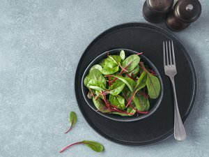 Fresh salad of green chard leaves or mangold
