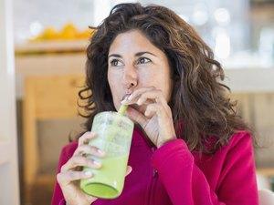Woman on a fad diet juice cleanse