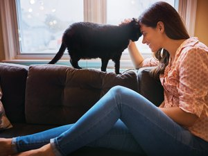 A woman sitting on the couch petting her cat to lower stress quickly