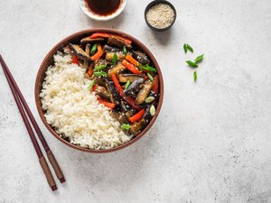 Stir fried eggplant and bell pepper