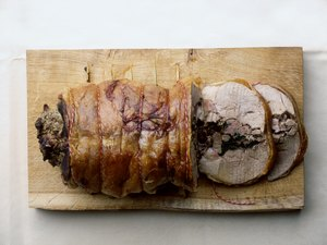 Herb stuffed rolled pork loin