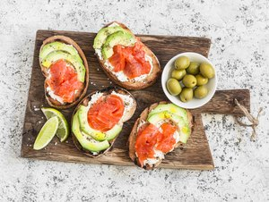 what is fat Dietary fat appetizers cream cheese, smoked salmon and avocado sandwiches