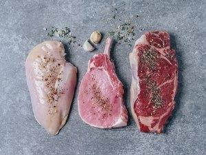 Raw meat (chicken breast, pork chop, and beef steak)