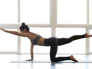 woman demonstrating bird dog exercise