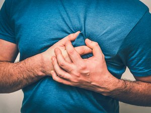 Man having chest pain, heart attack