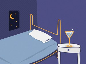 illustration of martini glass on nightstand next to bed with moon and stars out the window
