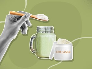 custom graphic showing hand with spoon putting collagen powder into mason jar