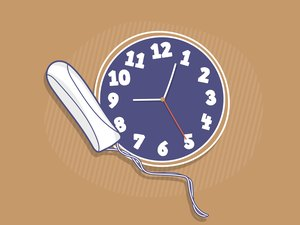 Illustration of a tampon and a clock, representing how long you can wear a tampon