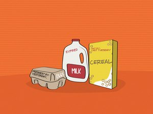 illustration of expired milk, eggs and cereal box on orange background