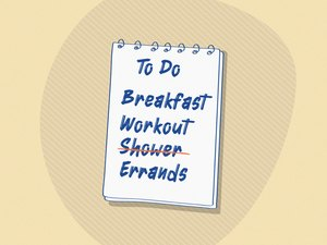 Graphic illustrating a to-do list that skips showering after a workout